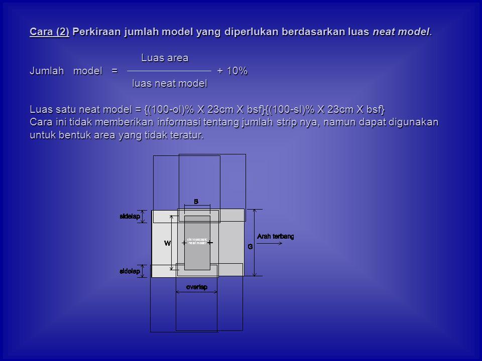 Cara (2) Perkiraan jumlah model yang diperlukan berdasarkan luas neat model. Luas area Luas area Jumlah model = + 10% luas neat model luas neat model