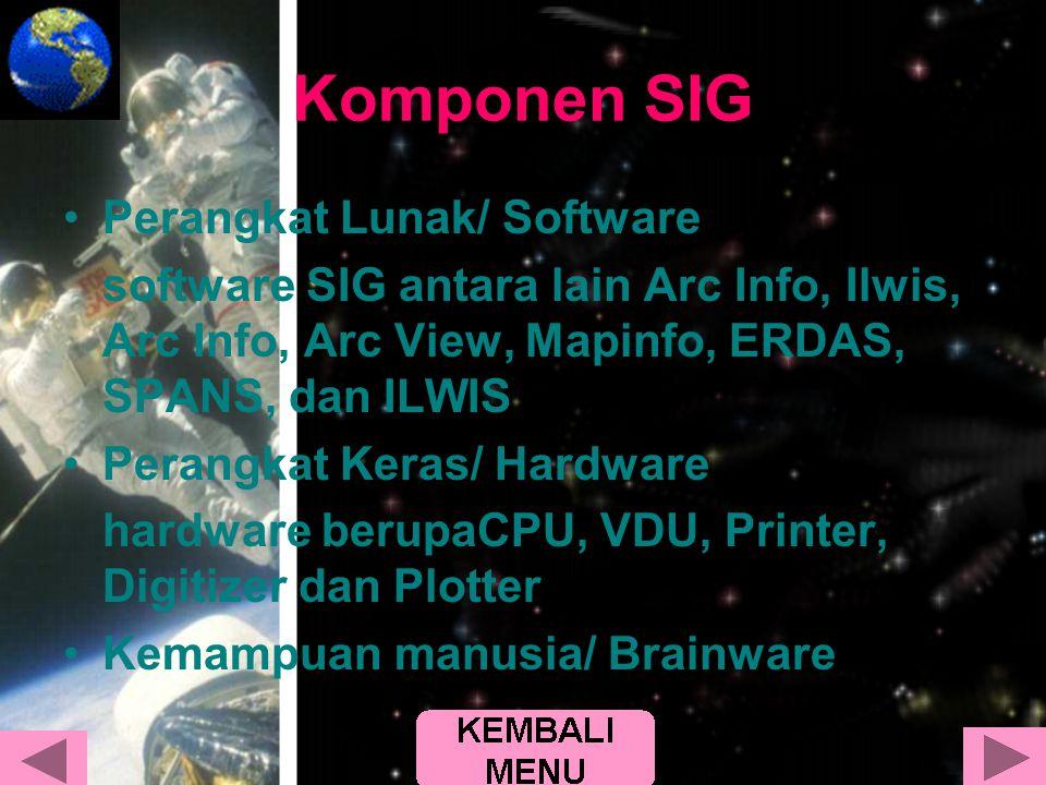 Komponen SIG •Perangkat Lunak/ Software software SIG antara lain Arc Info, Ilwis, Arc Info, Arc View, Mapinfo, ERDAS, SPANS, dan ILWIS •Perangkat Kera