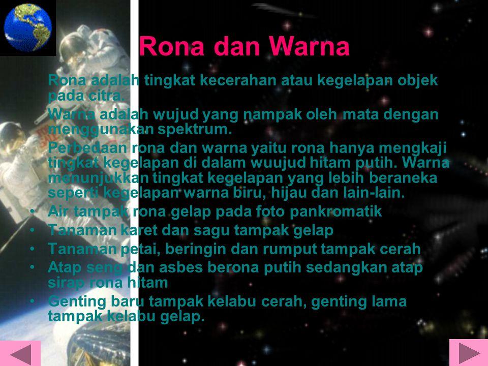 Rona dan Warna Rona adalah tingkat kecerahan atau kegelapan objek pada citra. Warna adalah wujud yang nampak oleh mata dengan menggunakan spektrum. Pe