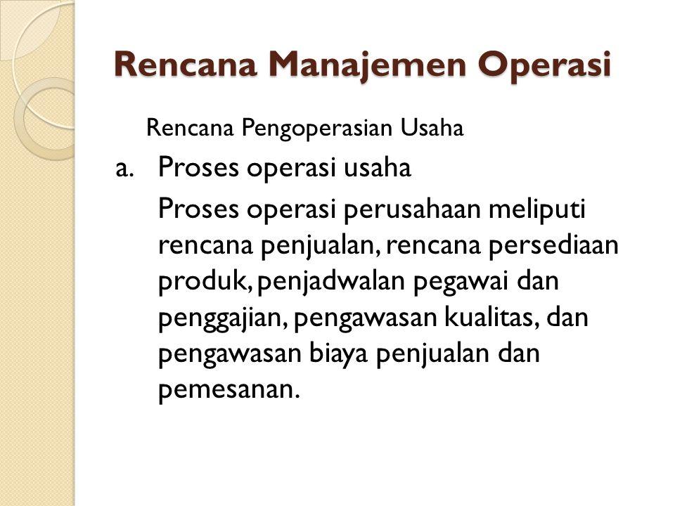 Rencana Manajemen Operasi Rencana Pengoperasian Usaha a.