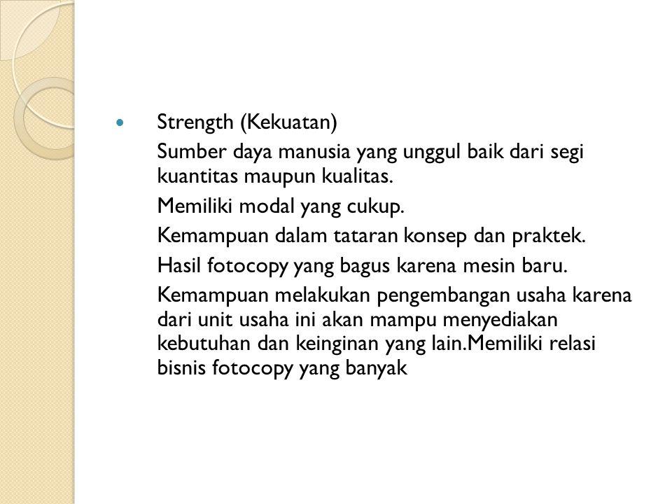  Strength (Kekuatan) Sumber daya manusia yang unggul baik dari segi kuantitas maupun kualitas.