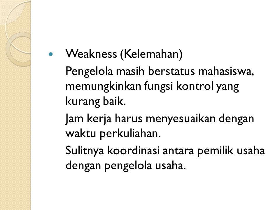  Weakness (Kelemahan) Pengelola masih berstatus mahasiswa, memungkinkan fungsi kontrol yang kurang baik.