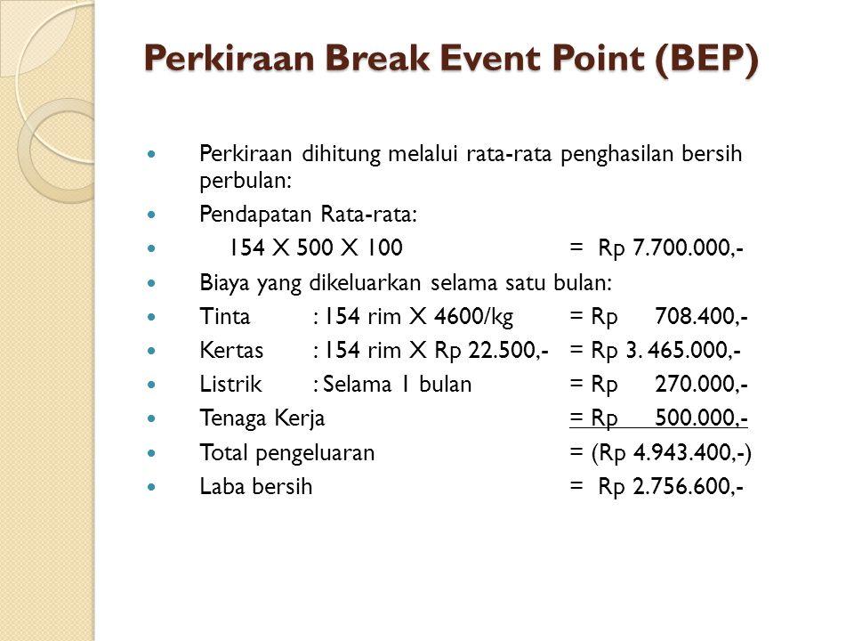 Perkiraan Break Event Point (BEP)  Perkiraan dihitung melalui rata-rata penghasilan bersih perbulan:  Pendapatan Rata-rata:  154 X 500 X 100= Rp 7.700.000,-  Biaya yang dikeluarkan selama satu bulan:  Tinta: 154 rim X 4600/kg= Rp 708.400,-  Kertas: 154 rim X Rp 22.500,-= Rp 3.