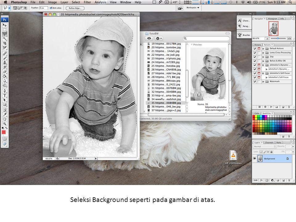 Seleksi Background seperti pada gambar di atas.