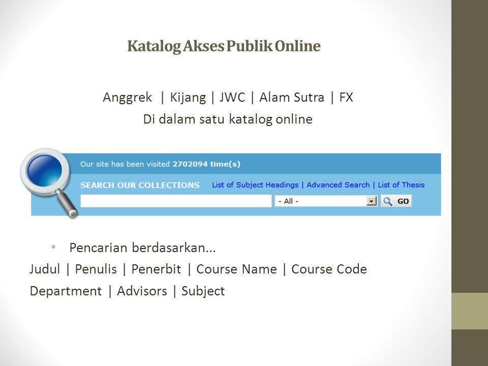 Katalog Akses Publik Online Anggrek | Kijang | JWC | Alam Sutra | FX Di dalam satu katalog online • Pencarian berdasarkan...