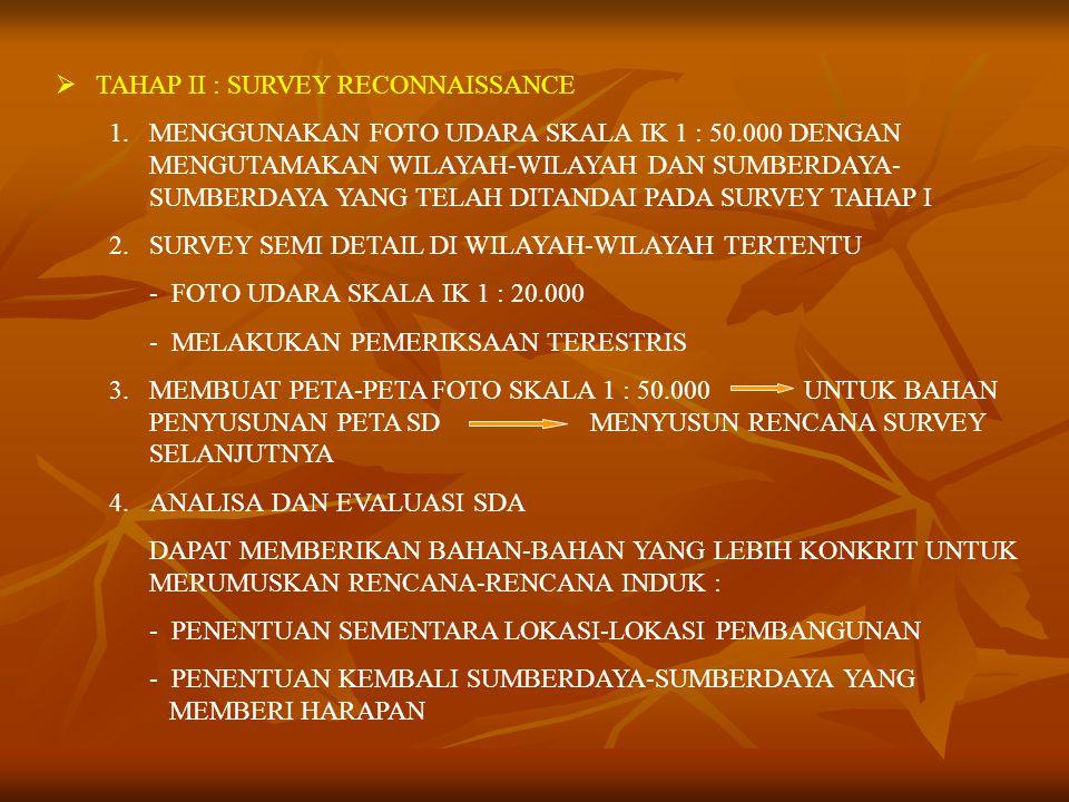  TAHAP II : SURVEY RECONNAISSANCE 1.MENGGUNAKAN FOTO UDARA SKALA IK 1 : 50.000 DENGAN MENGUTAMAKAN WILAYAH-WILAYAH DAN SUMBERDAYA- SUMBERDAYA YANG TELAH DITANDAI PADA SURVEY TAHAP I 2.SURVEY SEMI DETAIL DI WILAYAH-WILAYAH TERTENTU - FOTO UDARA SKALA IK 1 : 20.000 - MELAKUKAN PEMERIKSAAN TERESTRIS 3.MEMBUAT PETA-PETA FOTO SKALA 1 : 50.000UNTUK BAHAN PENYUSUNAN PETA SDMENYUSUN RENCANA SURVEY SELANJUTNYA 4.ANALISA DAN EVALUASI SDA DAPAT MEMBERIKAN BAHAN-BAHAN YANG LEBIH KONKRIT UNTUK MERUMUSKAN RENCANA-RENCANA INDUK : - PENENTUAN SEMENTARA LOKASI-LOKASI PEMBANGUNAN - PENENTUAN KEMBALI SUMBERDAYA-SUMBERDAYA YANG MEMBERI HARAPAN