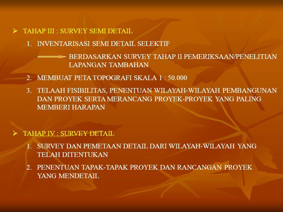  TAHAP III : SURVEY SEMI DETAIL 1.INVENTARISASI SEMI DETAIL SELEKTIF BERDASARKAN SURVEY TAHAP II PEMERIKSAAN/PENELITIAN LAPANGAN TAMBAHAN 2.