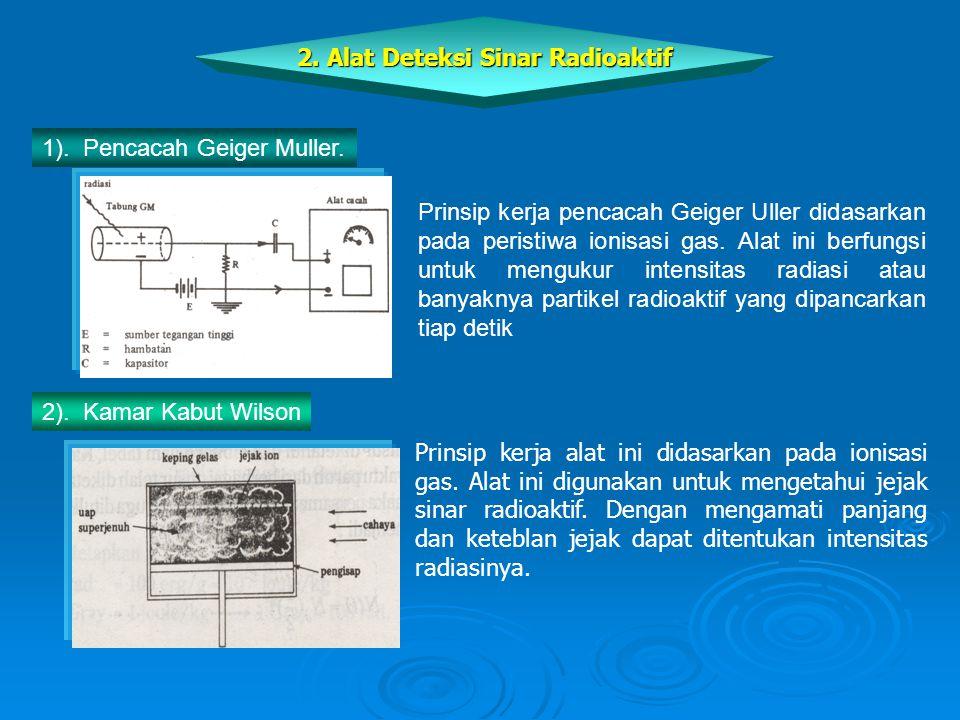 Prinsip kerja alat ini didasarkan pada ionisasi gas. Alat ini digunakan untuk mengetahui jejak sinar radioaktif. Dengan mengamati panjang dan keteblan