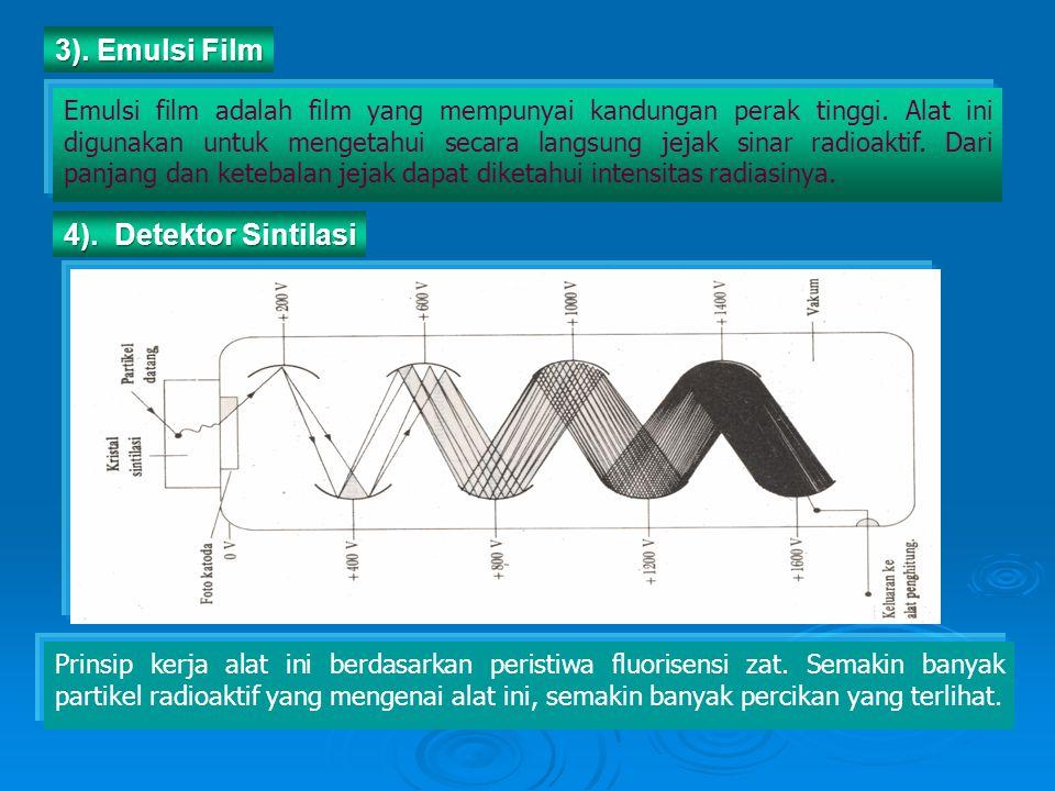 Emulsi film adalah film yang mempunyai kandungan perak tinggi. Alat ini digunakan untuk mengetahui secara langsung jejak sinar radioaktif. Dari panjan