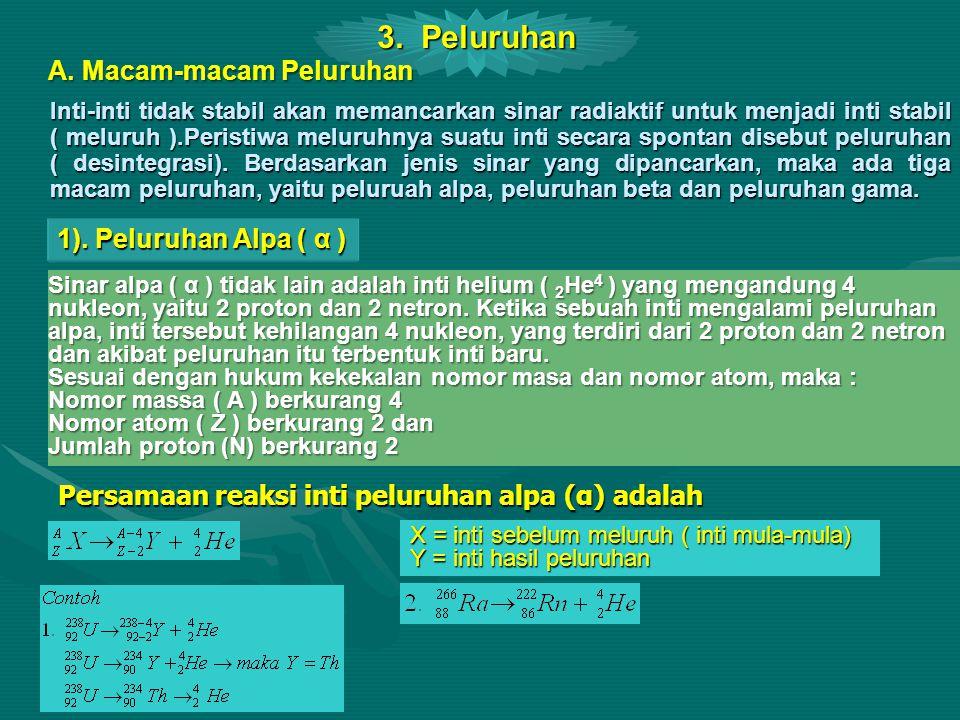 1). Peluruhan Alpa ( α ) Sinar alpa ( α ) tidak lain adalah inti helium ( 2 He 4 ) yang mengandung 4 nukleon, yaitu 2 proton dan 2 netron. Ketika sebu