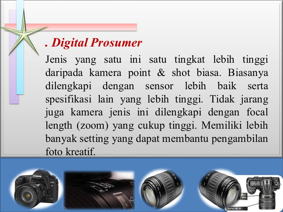 . Digital Prosumer Jenis yang satu ini satu tingkat lebih tinggi daripada kamera point & shot biasa. Biasanya dilengkapi dengan sensor lebih baik sert