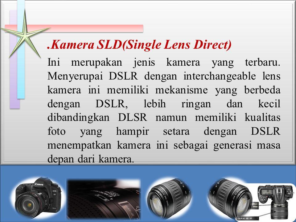 .Kamera SLD(Single Lens Direct) Ini merupakan jenis kamera yang terbaru. Menyerupai DSLR dengan interchangeable lens kamera ini memiliki mekanisme yan