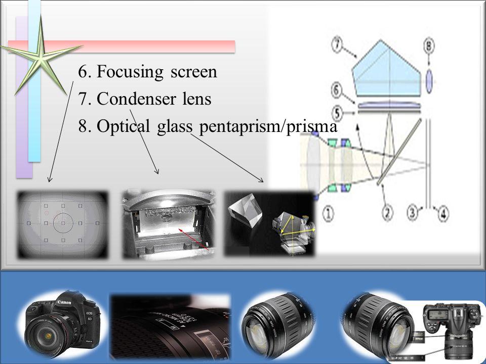 6. Focusing screen 7. Condenser lens 8. Optical glass pentaprism/prisma