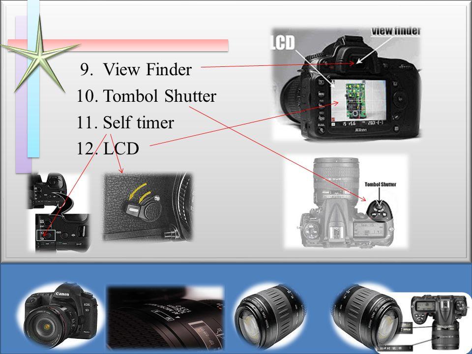 9. View Finder 10. Tombol Shutter 11. Self timer 12. LCD