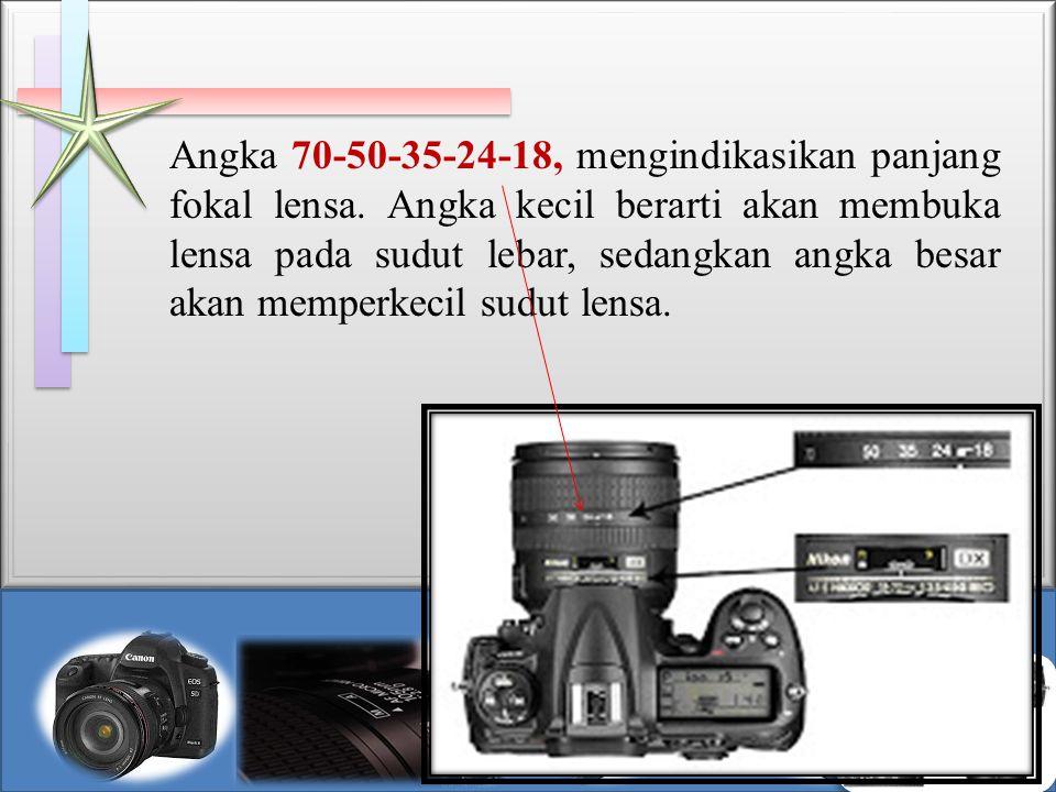 Angka 70-50-35-24-18, mengindikasikan panjang fokal lensa. Angka kecil berarti akan membuka lensa pada sudut lebar, sedangkan angka besar akan memperk