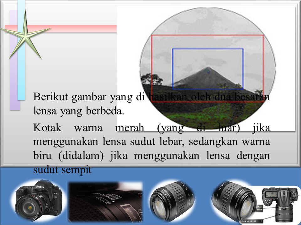 Berikut gambar yang di hasilkan oleh dua besaran lensa yang berbeda. Kotak warna merah (yang di luar) jika menggunakan lensa sudut lebar, sedangkan wa