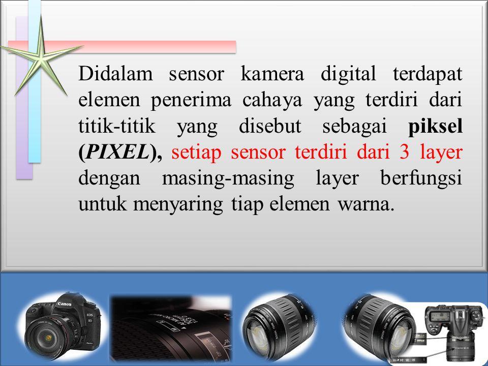 Didalam sensor kamera digital terdapat elemen penerima cahaya yang terdiri dari titik-titik yang disebut sebagai piksel (PIXEL), setiap sensor terdiri