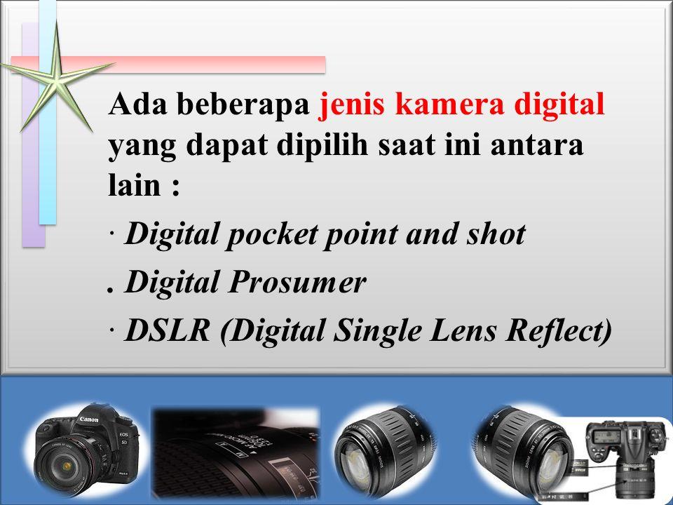 · Digital pocket point and shot Jenis kamera digital ini merupakan jenis yang paling sederhana sesuai namanya kamera ini dapat digunakan amat mudah, tidak ada penyetelan tingkat lanjut yang aneh yang dapat membingungkan pengguna awam, umumnya digunakan oleh pemula ataupun sekedar untuk mengambil foto-foto biasa.