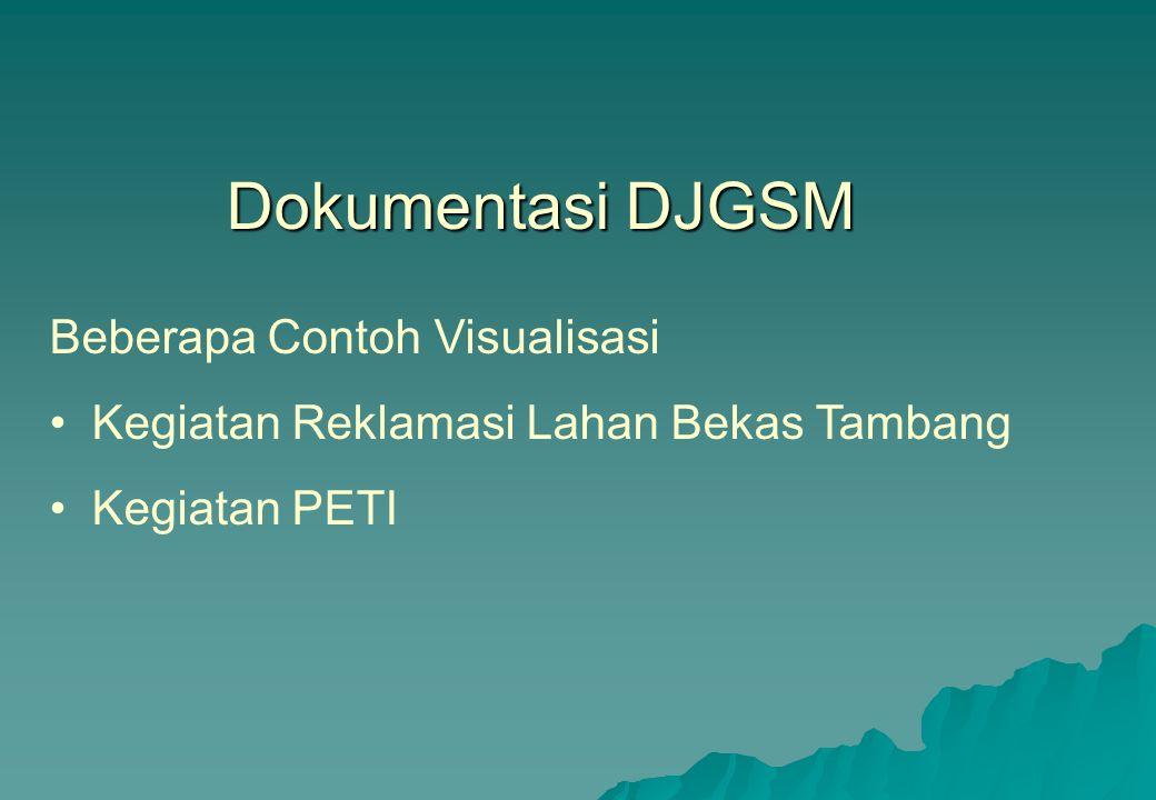 Dokumentasi DJGSM Beberapa Contoh Visualisasi •Kegiatan Reklamasi Lahan Bekas Tambang •Kegiatan PETI