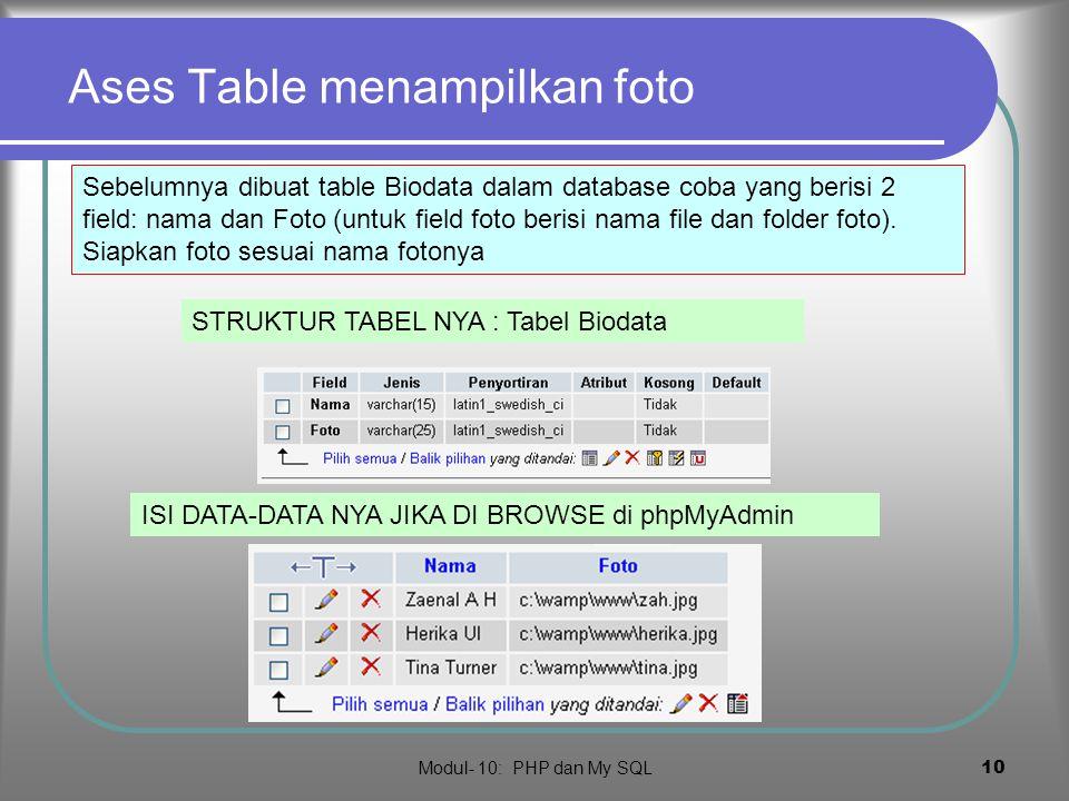 Modul- 10: PHP dan My SQL 9 ases field dengan mysql_field_ …  Cara lain ases field adalah (nomor field : 0,1,2..)  mysql_field_name (handle,kolom) : nama field ke- (kolom+1)  mysql_field_len(h andle,kolom) :lebar field ke- (kolom+1)  mysql_field_type( handle,kolom) : tipe field ke- (kolom+1)