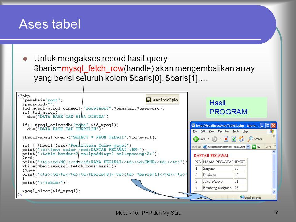 Modul- 10: PHP dan My SQL 6 ases ke Tabel …  Membuat query : mysql_query(quer y,handle)  Mengatahui jumlah field: mysql_num_fields (handle)  Mengatahui jumlah record: mysql_num_rows (handle) HASIL PROGRAM
