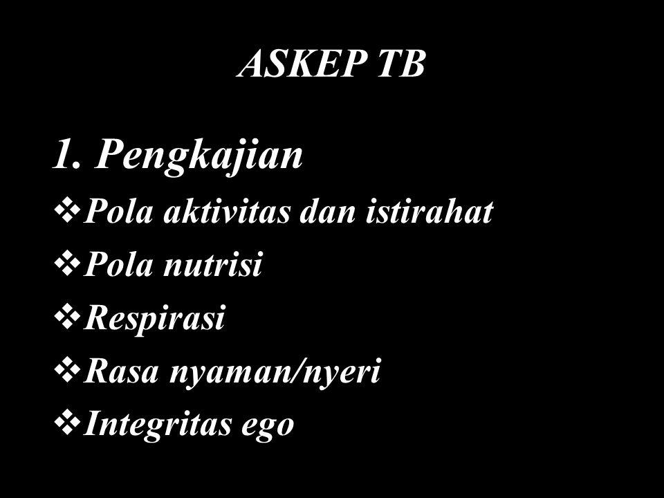 ASKEP TB 1. Pengkajian  Pola aktivitas dan istirahat  Pola nutrisi  Respirasi  Rasa nyaman/nyeri  Integritas ego