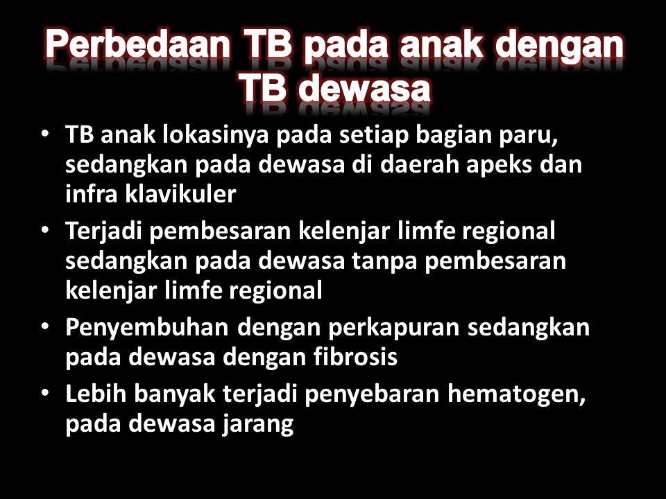 • TB anak lokasinya pada setiap bagian paru, sedangkan pada dewasa di daerah apeks dan infra klavikuler • Terjadi pembesaran kelenjar limfe regional s