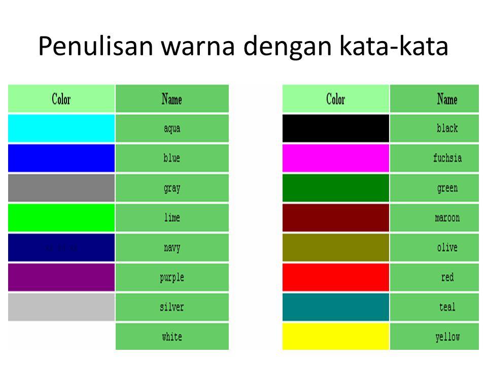 Penulisan warna dengan kata-kata