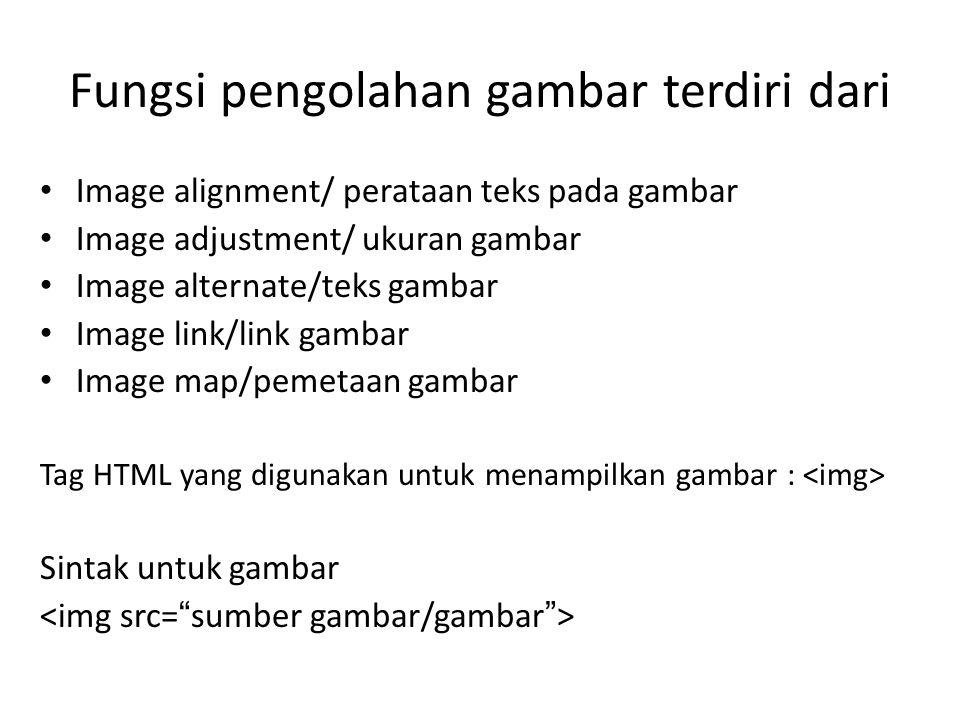 Fungsi pengolahan gambar terdiri dari • Image alignment/ perataan teks pada gambar • Image adjustment/ ukuran gambar • Image alternate/teks gambar • Image link/link gambar • Image map/pemetaan gambar Tag HTML yang digunakan untuk menampilkan gambar : Sintak untuk gambar