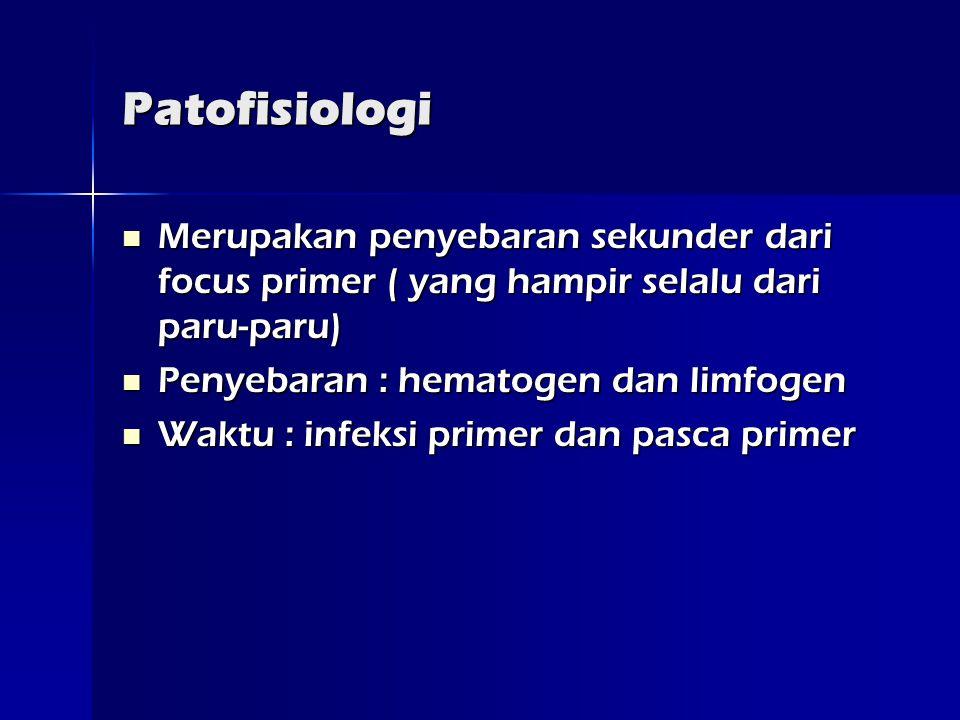 Patofisiologi  Merupakan penyebaran sekunder dari focus primer ( yang hampir selalu dari paru-paru)  Penyebaran : hematogen dan limfogen  Waktu : infeksi primer dan pasca primer