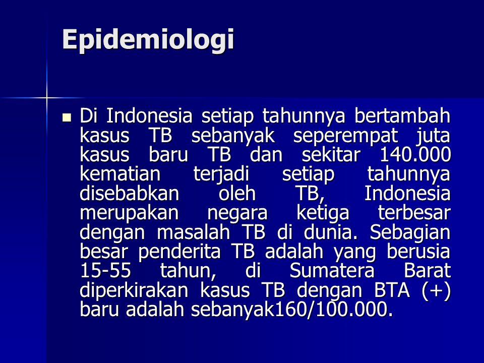 Di Indonesia setiap tahunnya bertambah kasus TB sebanyak seperempat juta kasus baru TB dan sekitar 140.000 kematian terjadi setiap tahunnya disebabkan oleh TB, Indonesia merupakan negara ketiga terbesar dengan masalah TB di dunia.