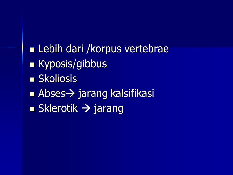  Lebih dari /korpus vertebrae  Kyposis/gibbus  Skoliosis  Abses  jarang kalsifikasi  Sklerotik  jarang