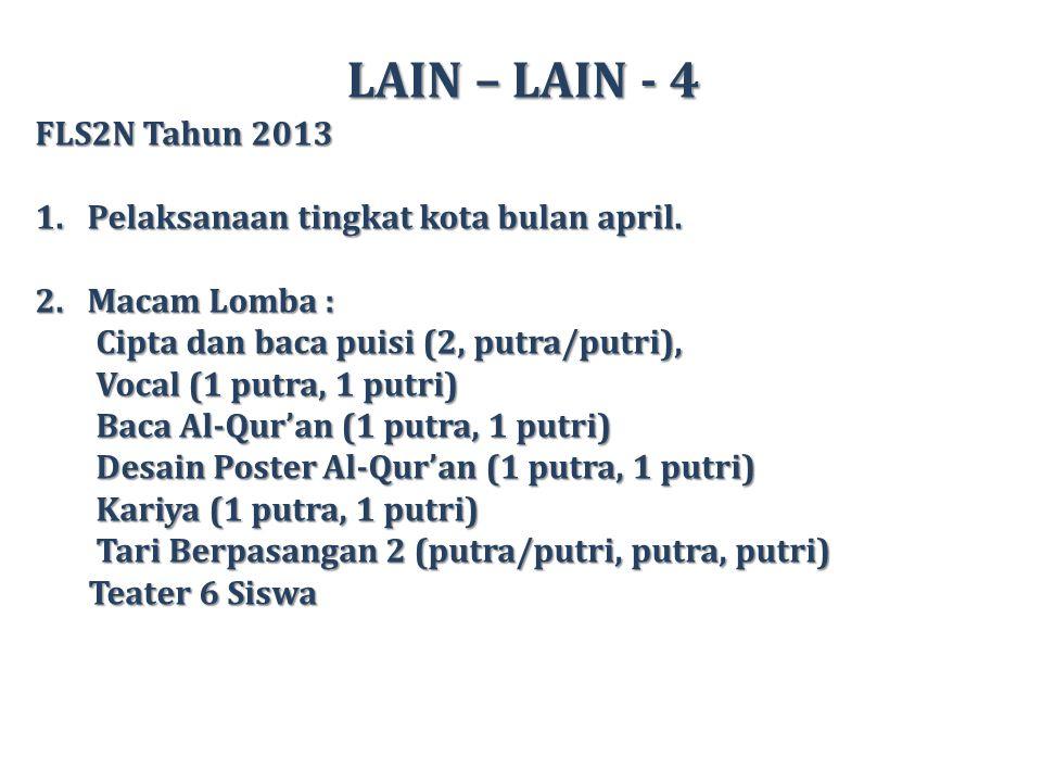 LAIN – LAIN - 4 FLS2N Tahun 2013 1.Pelaksanaan tingkat kota bulan april.