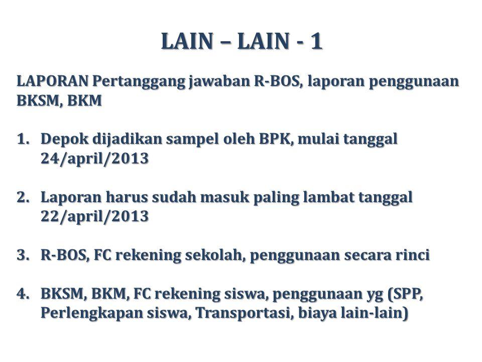 LAIN – LAIN - 2 OSN Tahun 2013 1.9 MP, penambahan MP Geografi.