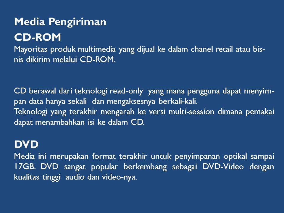 Media Pengiriman CD-ROM Mayoritas produk multimedia yang dijual ke dalam chanel retail atau bis- nis dikirim melalui CD-ROM. CD berawal dari teknologi