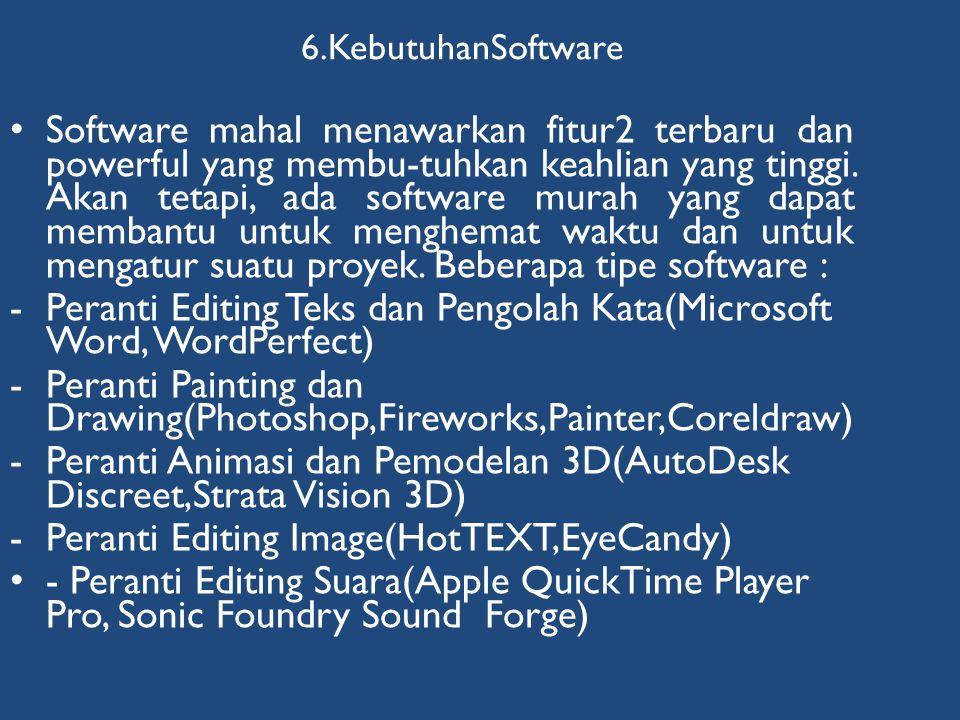 6.KebutuhanSoftware • Software mahal menawarkan fitur2 terbaru dan powerful yang membu-tuhkan keahlian yang tinggi. Akan tetapi, ada software murah ya