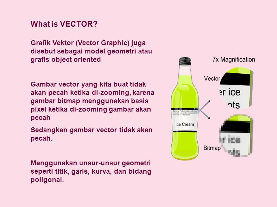 What is VECTOR? Grafik Vektor (Vector Graphic) juga disebut sebagai model geometri atau grafis object oriented Gambar vector yang kita buat tidak akan