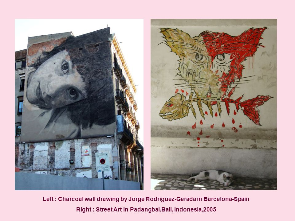 Left : Charcoal wall drawing by Jorge Rodriguez-Gerada in Barcelona-Spain Right : Street Art in Padangbai,Bali, Indonesia,2005