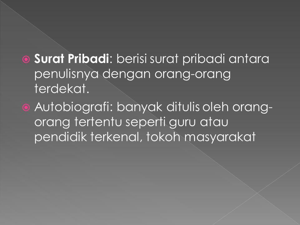  Surat Pribadi : berisi surat pribadi antara penulisnya dengan orang-orang terdekat.