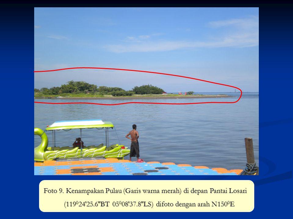 Foto 9. Kenampakan Pulau (Garis warna merah) di depan Pantai Losari (119 0 24'25.6''BT 05 0 08'37.8''LS) difoto dengan arah N150 0 E