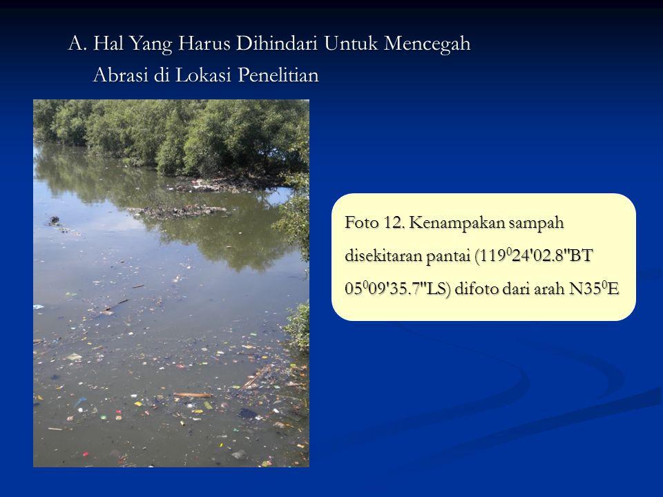 A. Hal Yang Harus Dihindari Untuk Mencegah Abrasi di Lokasi Penelitian Foto 12. Kenampakan sampah disekitaran pantai (119 0 24'02.8''BT 05 0 09'35.7''