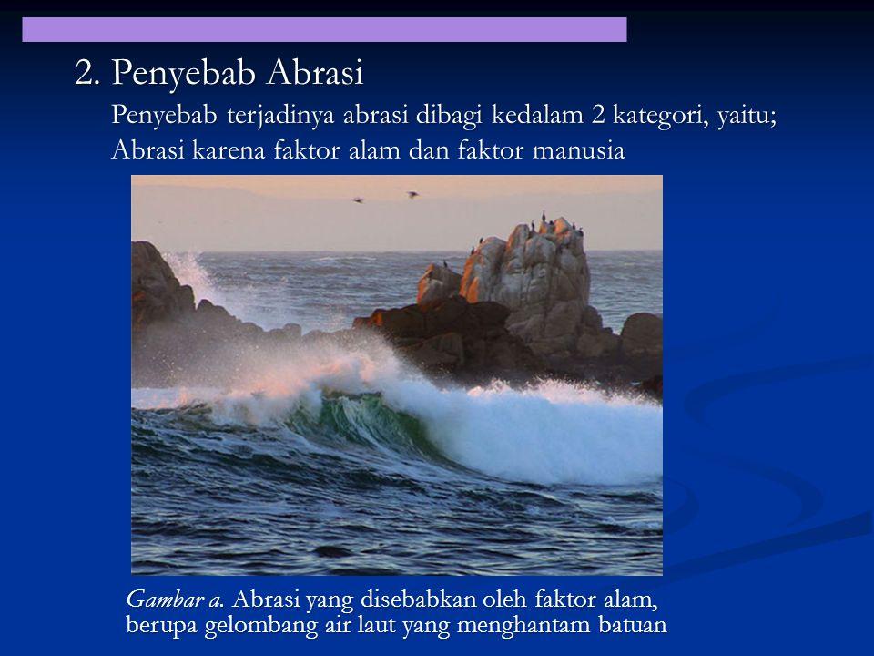 2. Penyebab Abrasi Gambar a. Abrasi yang disebabkan oleh faktor alam, berupa gelombang air laut yang menghantam batuan Penyebab terjadinya abrasi diba