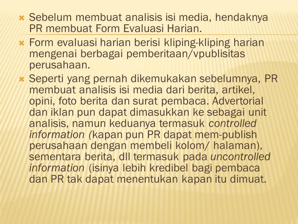  Sebelum membuat analisis isi media, hendaknya PR membuat Form Evaluasi Harian.  Form evaluasi harian berisi kliping-kliping harian mengenai berbaga