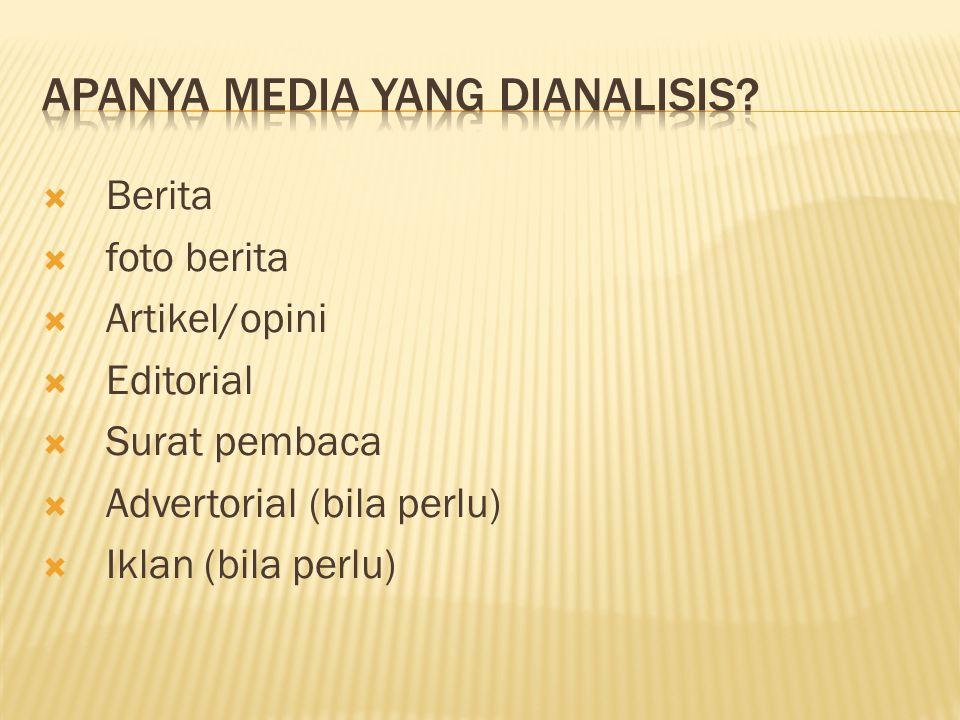  Berita  foto berita  Artikel/opini  Editorial  Surat pembaca  Advertorial (bila perlu)  Iklan (bila perlu)