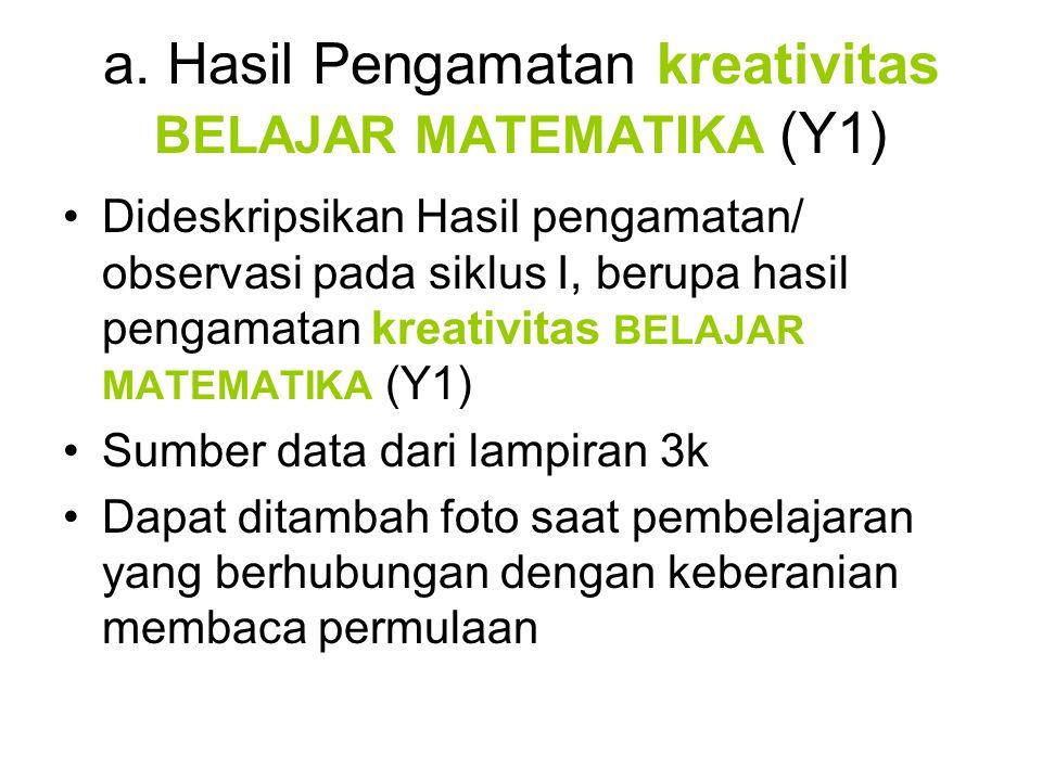 a. Hasil Pengamatan kreativitas BELAJAR MATEMATIKA (Y1) •Dideskripsikan Hasil pengamatan/ observasi pada siklus I, berupa hasil pengamatan kreativitas