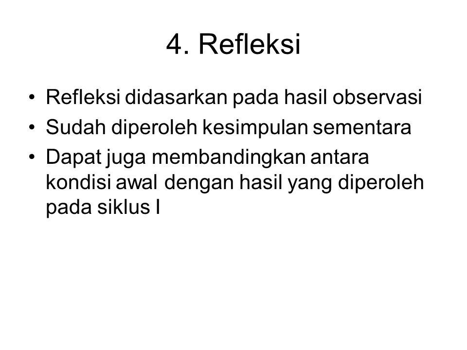 4. Refleksi •Refleksi didasarkan pada hasil observasi •Sudah diperoleh kesimpulan sementara •Dapat juga membandingkan antara kondisi awal dengan hasil