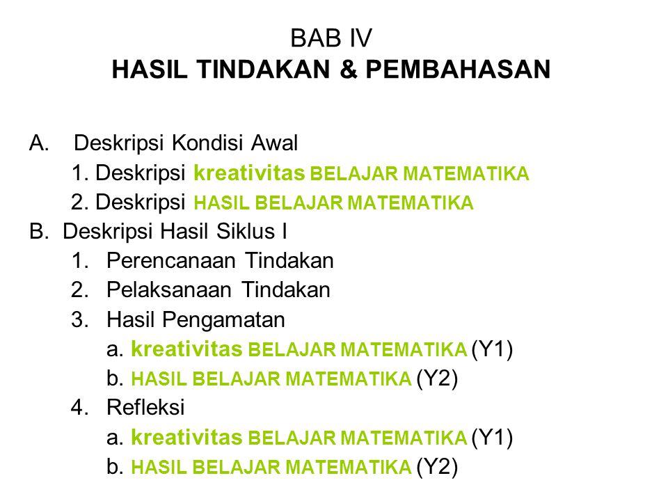 BAB IV HASIL TINDAKAN & PEMBAHASAN A.Deskripsi Kondisi Awal 1. Deskripsi kreativitas BELAJAR MATEMATIKA 2. Deskripsi HASIL BELAJAR MATEMATIKA B. Deskr