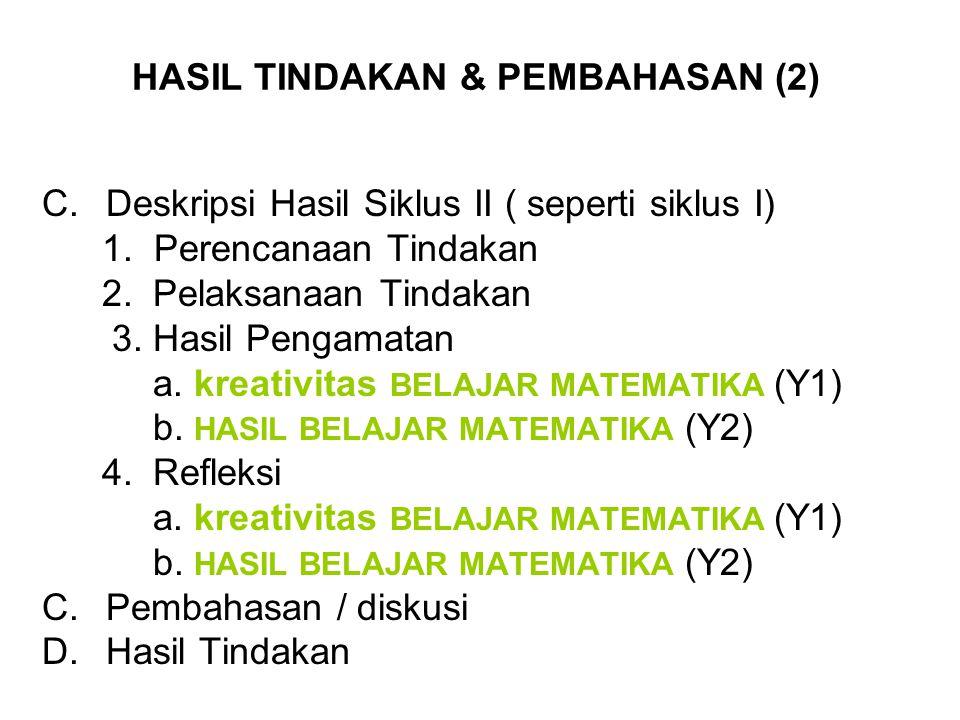 HASIL TINDAKAN & PEMBAHASAN (2) C.Deskripsi Hasil Siklus II ( seperti siklus I) 1. Perencanaan Tindakan 2.Pelaksanaan Tindakan 3.Hasil Pengamatan a. k