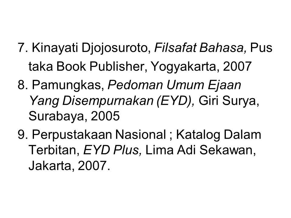 7. Kinayati Djojosuroto, Filsafat Bahasa, Pus taka Book Publisher, Yogyakarta, 2007 8. Pamungkas, Pedoman Umum Ejaan Yang Disempurnakan (EYD), Giri Su