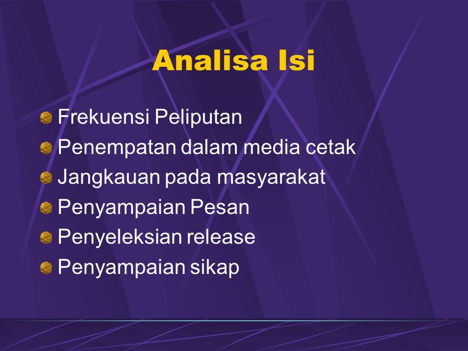 Analisa Isi Frekuensi Peliputan Penempatan dalam media cetak Jangkauan pada masyarakat Penyampaian Pesan Penyeleksian release Penyampaian sikap